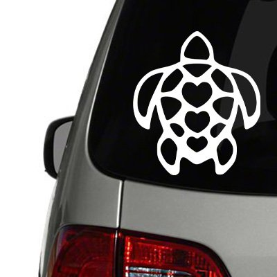 Hawaiian Turtle with Hearts Vinyl Decal