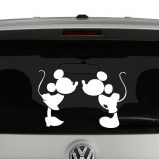Micky and Minnie Mouse Kissing Vinyl Decal