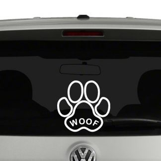 Woof Paw Print Vinyl Decal
