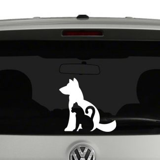 Dog and Cat Silhouette Vinyl Decal