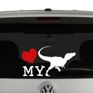 Love My Velociraptor Sillhouette Vinyl Decal