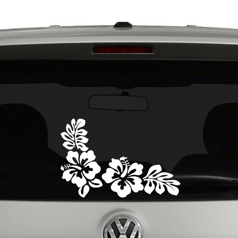 Hibiscus Flowers and Leaves Vinyl Decal