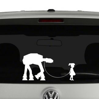 Star Wars Inspired Girl and Her Pet AT-AT Vinyl Decal