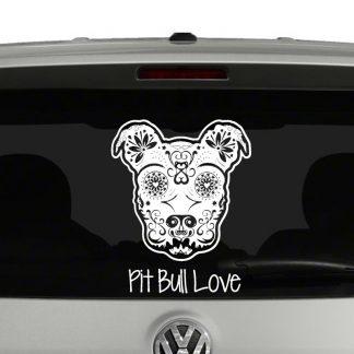 Pitbull Love Sugar Skull Style Vinyl Decal Sticker