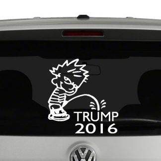 Calvin Peeing on Trump 2016 Vinyl Decal Sticker