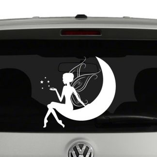 Fairy Sitting on Moon Vinyl Decal Sticker