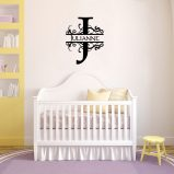 Monogram Swirls with Name Vinyl Wall Decal