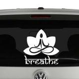 Breathe Sanskrit with Lotus Meditating Vinyl Decal Sticker