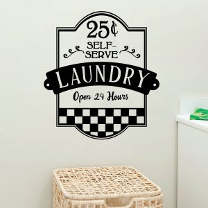 Laundry Self Serve Open 24 Hours Vinyl Wall Decal