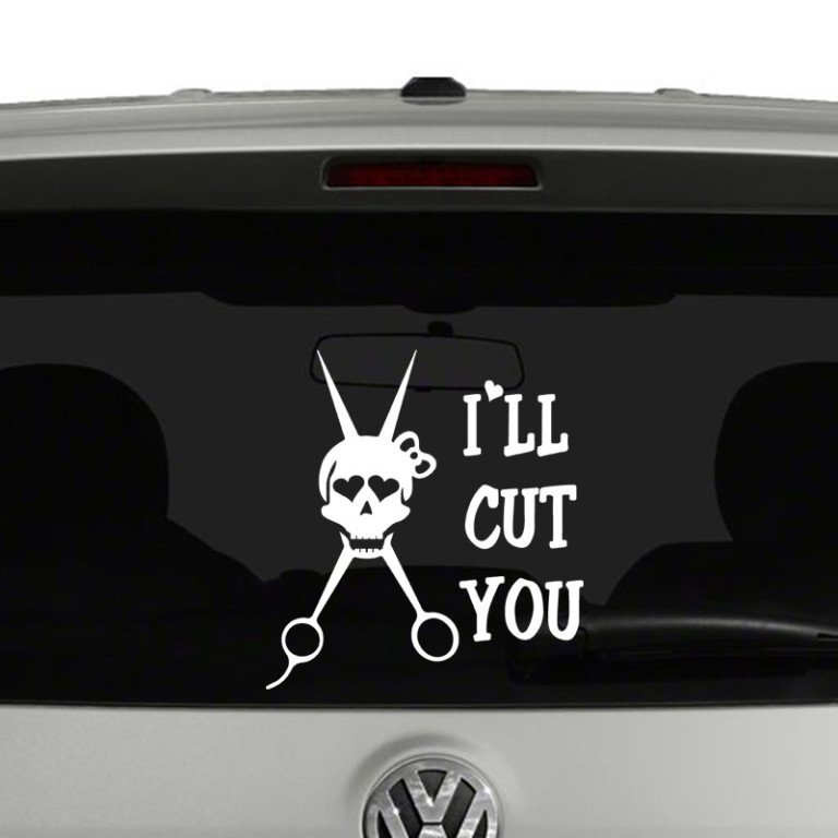 I'll Cut You Hairstylist Skull and Scissors Vinyl Decal Sticker