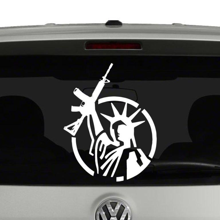 Statue of Liberty with AR15 Second Amendment Vinyl Decal Sticker Car Window