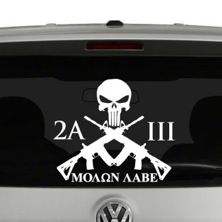 2nd Amendment 3 Percent Molon Labe Crossed Rifles Vinyl Decal Sticker