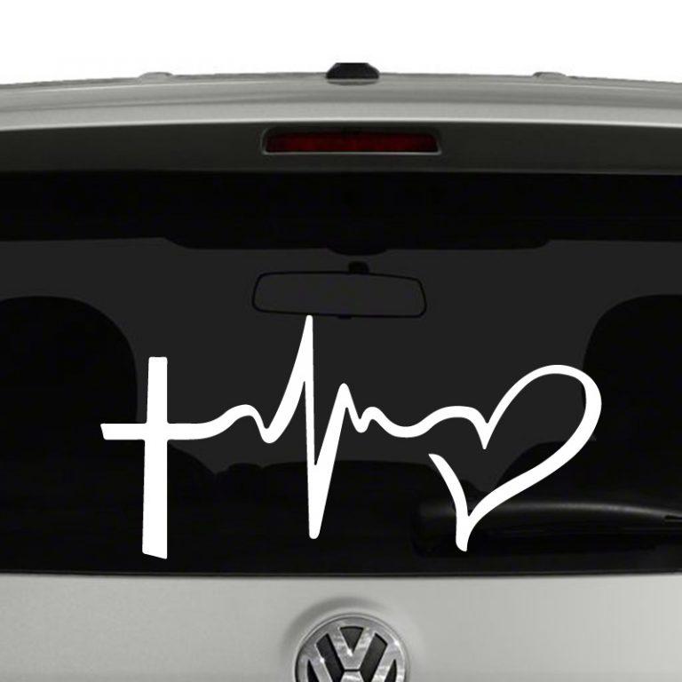 Faith Hope Love Symbols Vinyl Decal Sticker Cross Heartbeat Heart