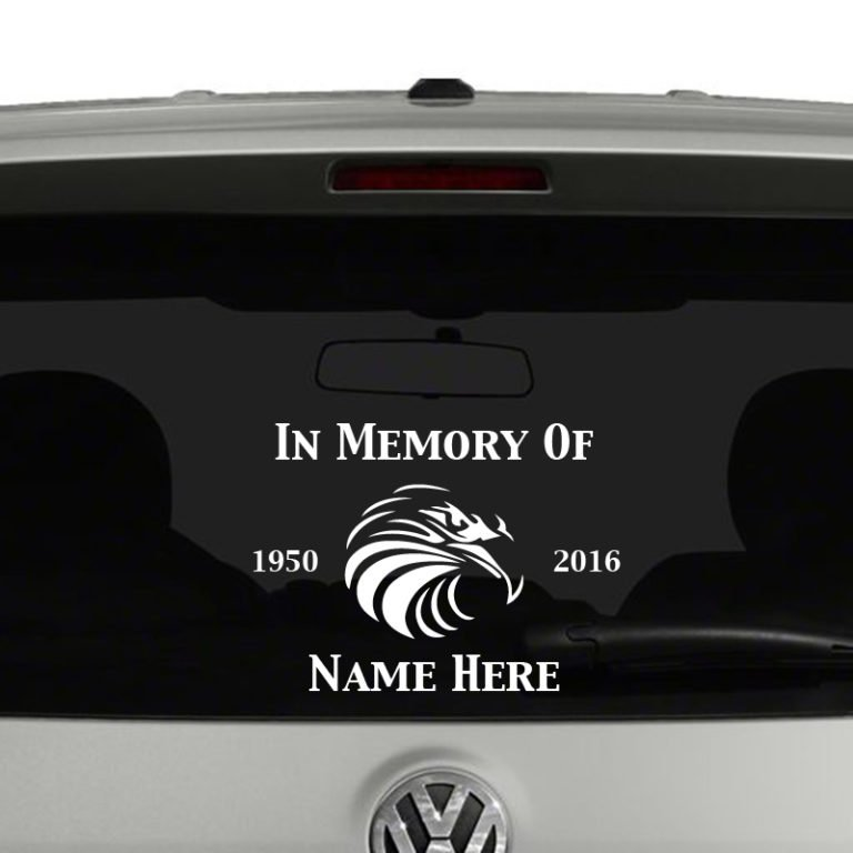 In Memory Of With Eagle Head Vinyl Decal Sticker Car