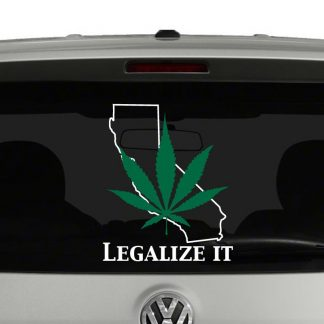 Marijuana Legalize It California Two Color Layered Vinyl Decal Sticker