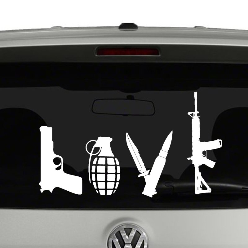 Love Weapons Guns Pistol Rifle Vinyl Decal Sticker