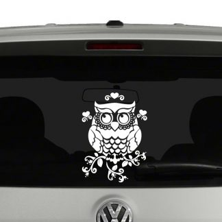 Owl on Branches with Hearts Vinyl Decal Sticker