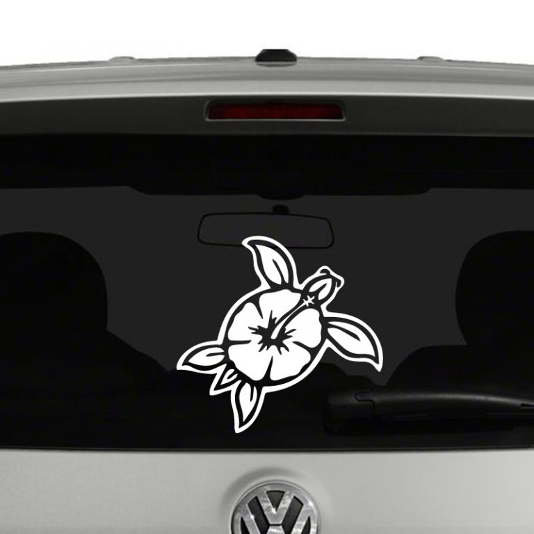 Turtle Hibiscus Flower Hawaiian Vinyl Decal Sticker