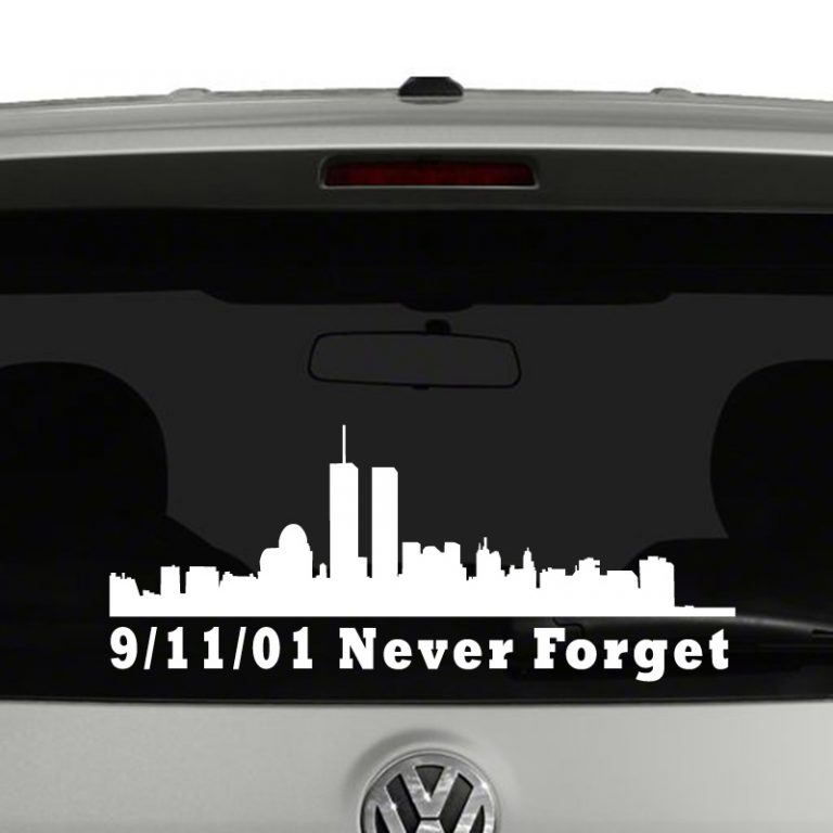 9-11-01 Never Forget Word trade Center Skyline Vinyl Decal Sticker