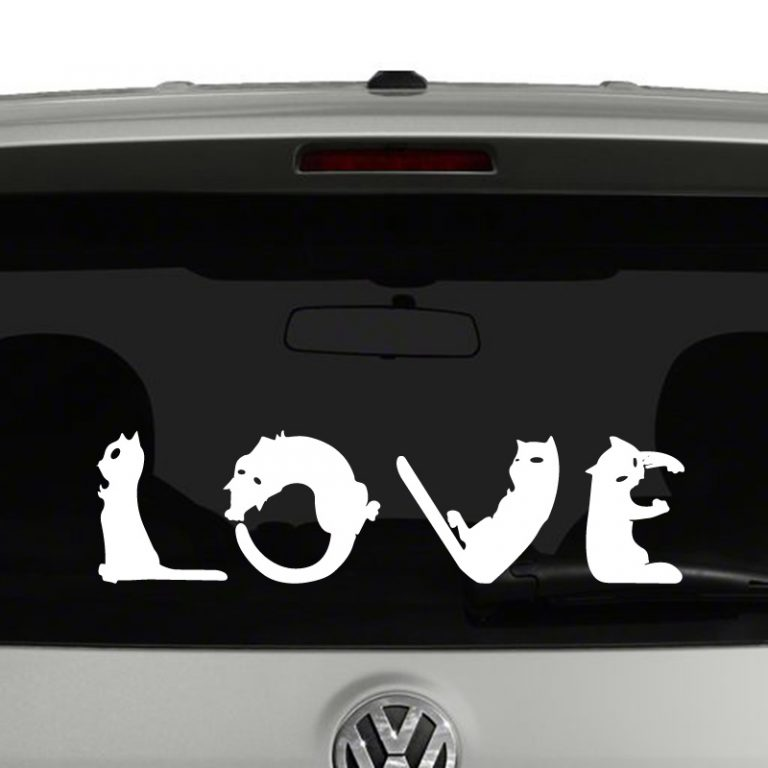 Love Cats - Cats Spell Out Love Vinyl Decal Sticker