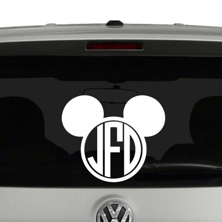 Mickey Mouse Disney Inspired Monogram Vinyl Decal Sticker