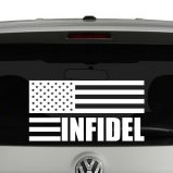 American Flag Infidel Patriotic Vinyl Decal Sticker