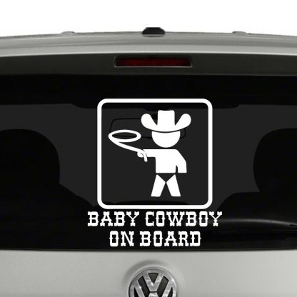 Baby Cowboy On Board Vinyl Decal Sticker