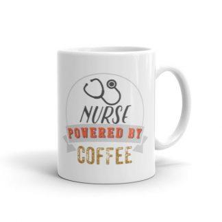 Nurse Powered By Coffee Retro Icon Ceramic Mug