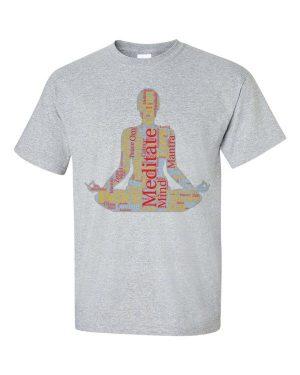Meditation Word Cloud Meditating Figure Silhouette Short Sleeve T-Shirt