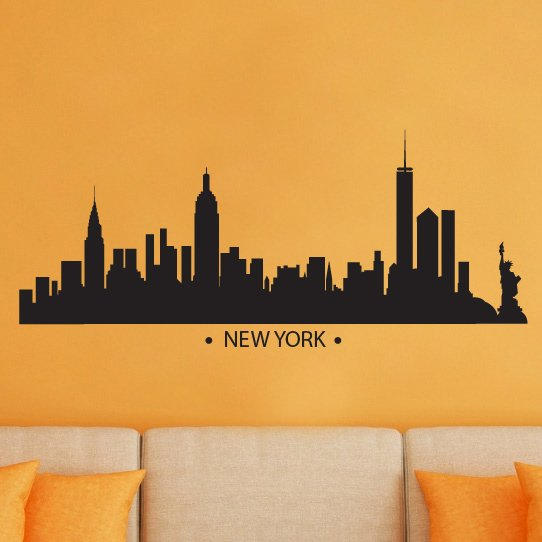 New York Skyline Silhouette Vinyl Wall Decal Sticker