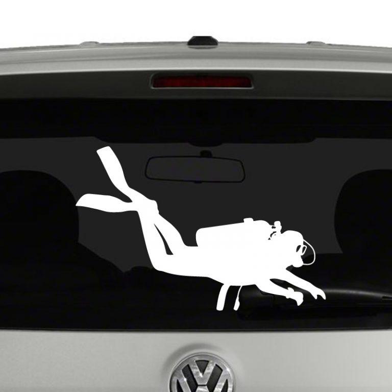 Scuba Diver Silhouette Vinyl Decal Sticker
