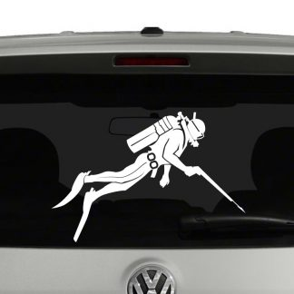 Scuba Diver with Speargun Silhouette Vinyl Decal Sticker