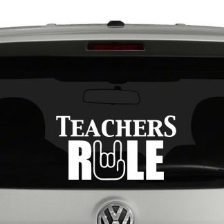 Teachers Rule Rock On Hand Vinyl Decal Sticker
