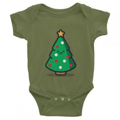 Happy Christmas Tree Graphic Baby Short Sleeve Onesies