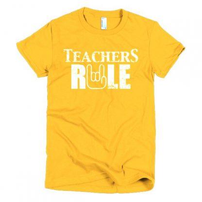 Teachers Rule Rock On Hand Funny T-Shirt