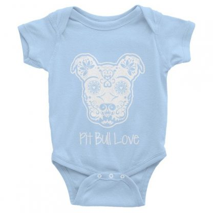 Pit Bull Love Sugar Skull Infant short sleeve one-piece Onesie