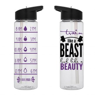 Water Tracker – Train Like A Beast Look Like A Beauty Sports Water Bottle 24 Oz