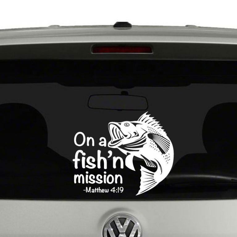 On A Fishing Mission Matthew 4 19 Fisher of Men Vinyl Decal Sticker