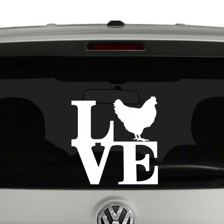 Love Chickens Chicken Silhouette Vinyl Decal Sticker