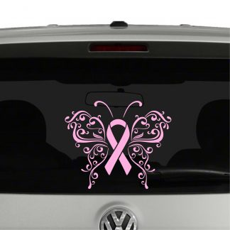 Awareness Ribbon Butterfly Breast Cancer Vinyl Decal Sticker