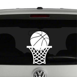 Basketball in Net Vinyl Decal Sticker