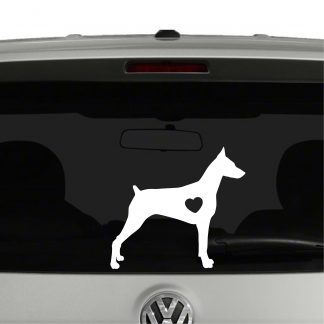 Doberman Pinscher Dog Puppy Heart Love Vinyl Decal Sticker