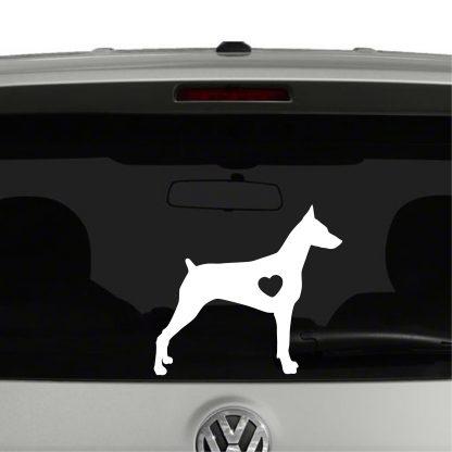 Doberman Pinscher Dog Puppy Heart Love Vinyl Decal Sticker