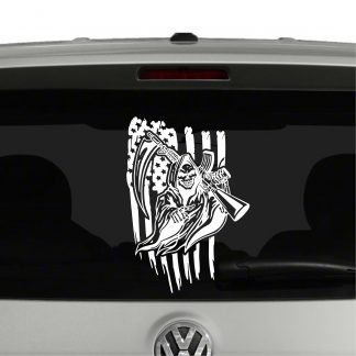 American Flag and Grim Reaper with AR15 Vinyl Decal Sticker