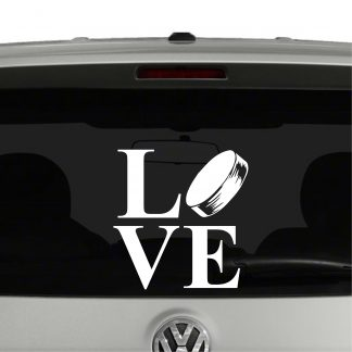 Love Hockey Hockey Puck Vinyl Decal Sticker