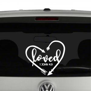 Loved Arrows Heart 1 John 4:9 Vinyl Decal Sticker