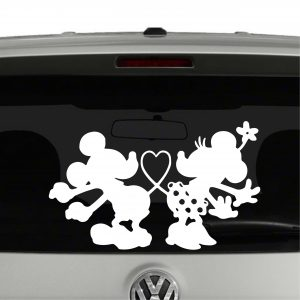 Mickey and Minnie Mouse Tails In Shape of Heart Vinyl Decal Sticker Car Window