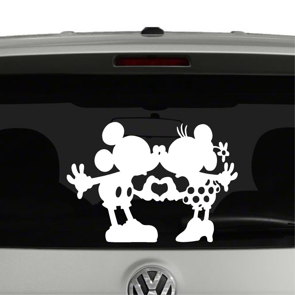 Mickey And Minnie Mouse Heart Hands Nose Kissing Vinyl