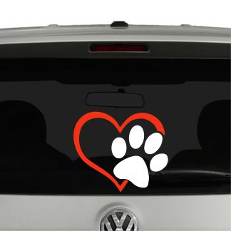Puppy Dog Paw Print Heart Vinyl Decal Sticker