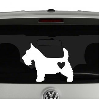 Scottish Terrier Dog Heart Love Vinyl Decal Sticker